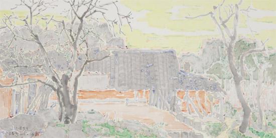 家乡风景手绘墙画素材